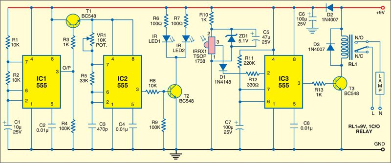 Fig. 1: Circuit of automatic wash basin lamp controller