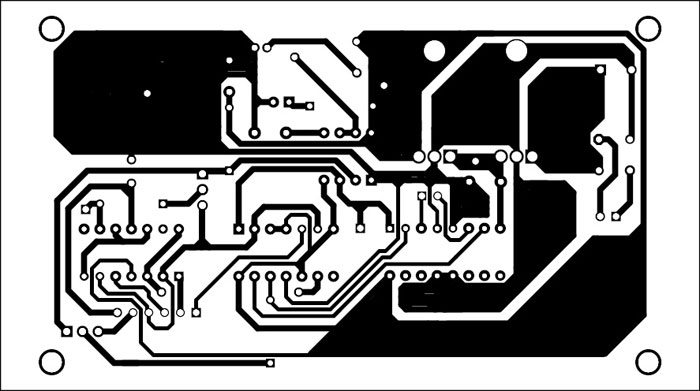 Fig. 2: An actual-size, single-side PCB for the door lock circuit