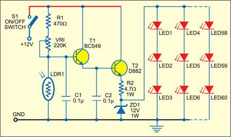 Fig. 1: Circuit for automatic garden lighting