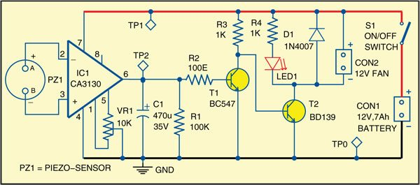 Fig. 2: Circuit diagram of solder fumes remover