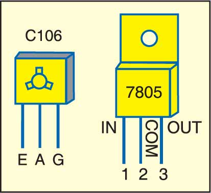 Fig. 2: Pin configurations of C106 and 7805