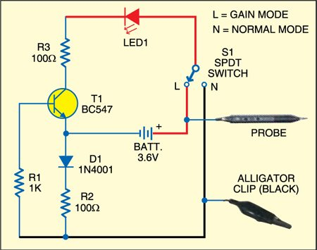 leakage and continuity tester detailed circuit diagram available rh electronicsforu com continuity tester circuit schematic diagram audible continuity tester circuit diagram