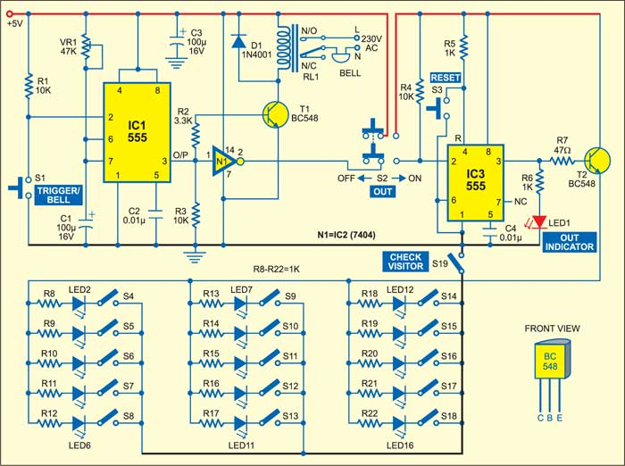 doorbell cum visitor indicator detailed circuit diagram available rh electronicsforu com
