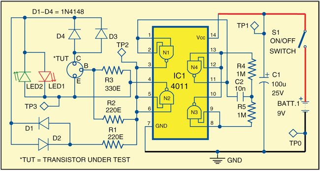 Fig. 1: Circuit of transistor polarity checker