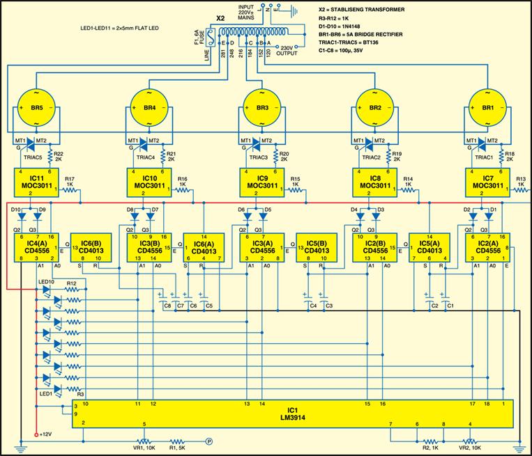 Fig.2:Circuit diagram of voltage stabiliser