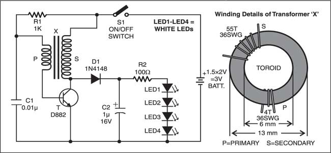 LED torch circuit