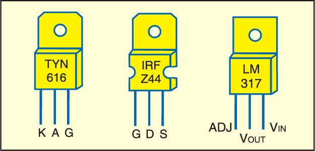 Pin configurations of TYN616, IRFZ44 and LM317