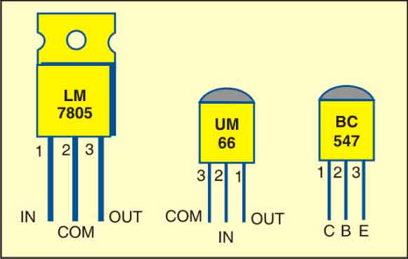 Fig. 2: Pin configurations of LM7805, UM66 and BC547