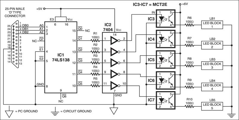 PC Driven LED Display Circuit
