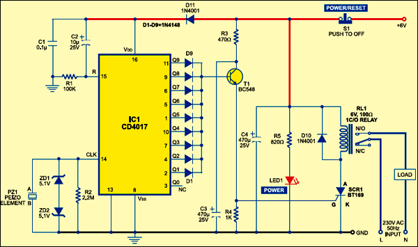 Fig. 1: Circuit of the sensitive vibration detector