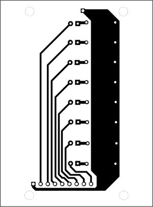 Fig. 9: An actual-size, single-side PCB for the LED strip