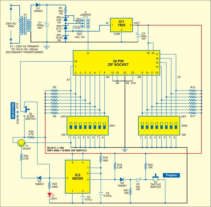 manual eprom programmer detailed circuit diagram available rh electronicsforu com usb eeprom programmer circuit diagram usb eeprom programmer circuit diagram