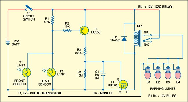 Automatic parking light circuit