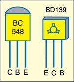 Fig. 2: Pin configurations of BC548 and BD139