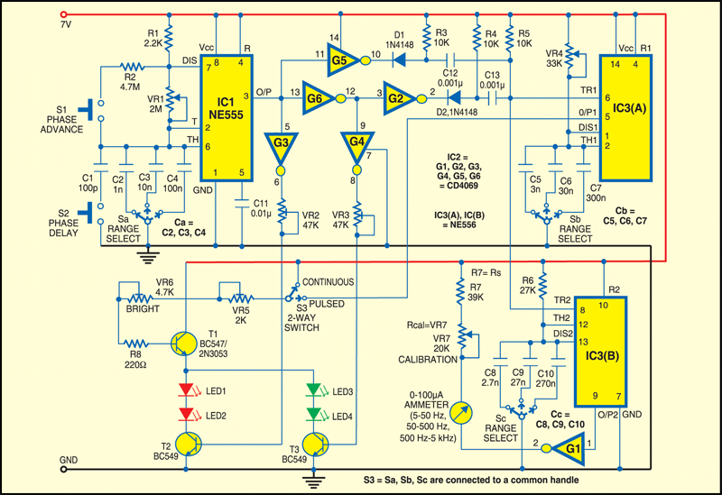 Fig.1 Circuit of dual-color Stroboscope