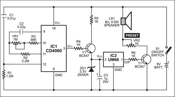 Fig. 2: The circuit of timer with musical alarm