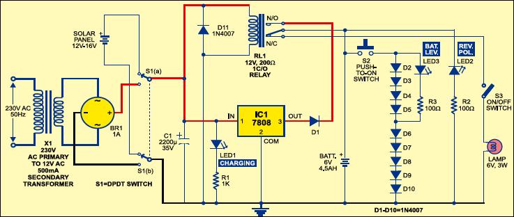 Solar Lighting System Circuit