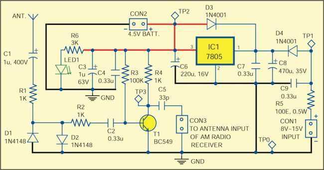 Fig. 1: Circuit of antenna preamplifierfor AM radios