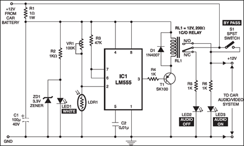 Fig. 2: The circuit of the cell phone-controlled audio/video mute switch