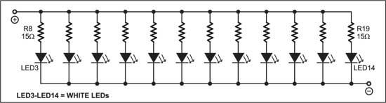 Fig. 2: Arrangement of LEDs for column A, B or C
