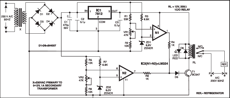 Circuit Diagram: Under/Over-voltage protection of your appliances