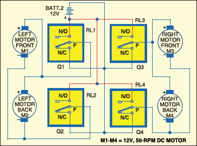 Fig.5: Relay connections to motors