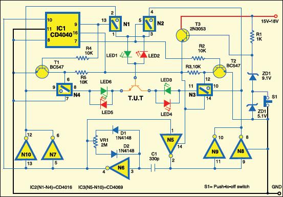 Fig. 1: Circuit of bipolar transistor tester