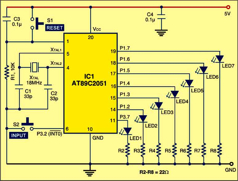 Fig. 2: Circuit for electronic dice using AT89C2051