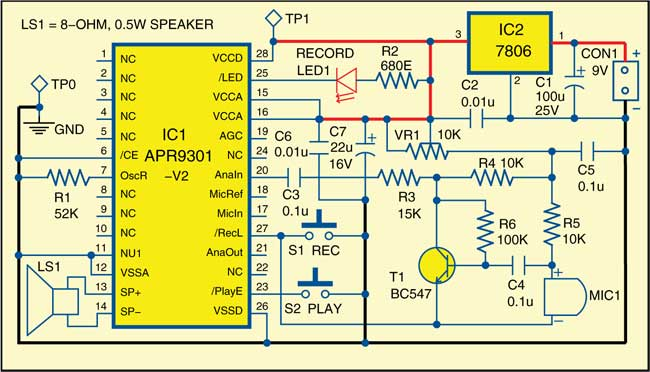 Fig. 1: Circuit of voice recorder and playback system