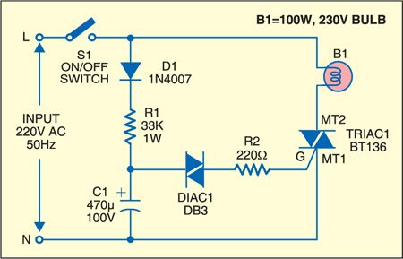 Diac Controlled Flasher Detailed Circuit Diagram Available