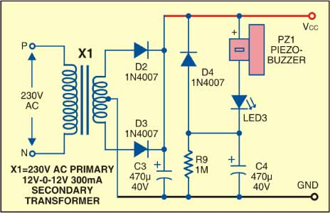 Fig. 1: Power supply circuit with resume indicator