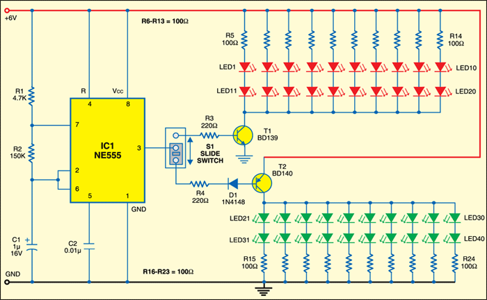 Fig. 1: Circuit of LED flasher