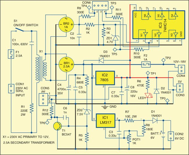 Fig. 1: Circuit of multifunction power supply