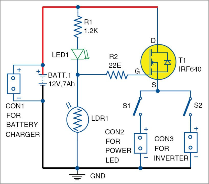 Circuit diagram of the dusk-dawn controller