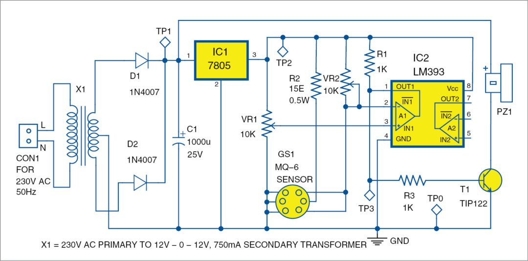 Earth leakage indicator circuit electronic circuit projects - 2 Circuit Diagram Of The Lpg Detector
