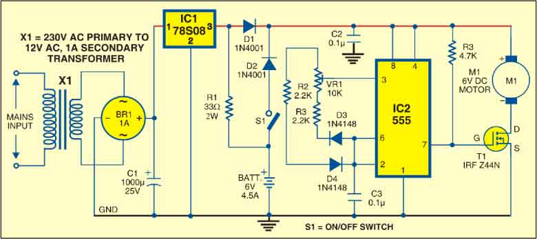 how to connect a mosfet and pentiometer to a motor