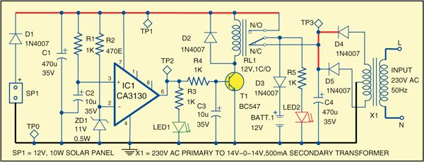 Z58_2 hybrid solar charger full circuit diagram with explanation