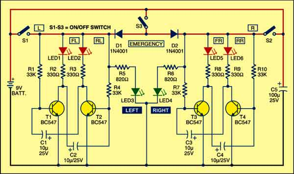 Fig. 1: Circuit of bi-cycle indicator