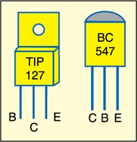 Fig. 3: Pin configurations of TIP127 and BC547