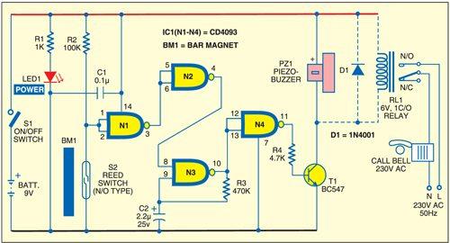 Fig. 1: Door-opening alarm circuit