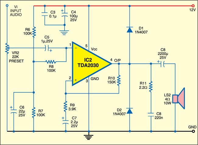 Fig. 2: TDA 2030A amplifier for automobile horn