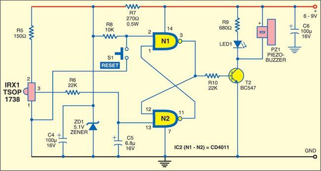 infrared burglar alarm detailed circuit diagram available rh electronicsforu com