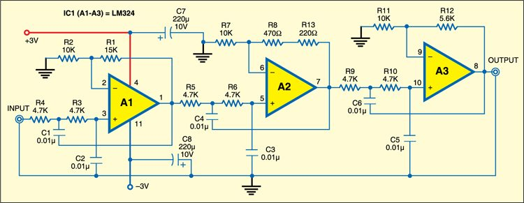 Sixth Order Butterworth Low Pass Filter Circuit