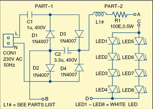 Fig. 1: Circuit diagram of the illuminated optical magnifier