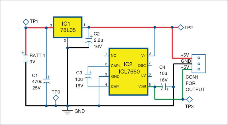 Electronics Projects: Plus-minus 5V Supply From 9V Battery ...
