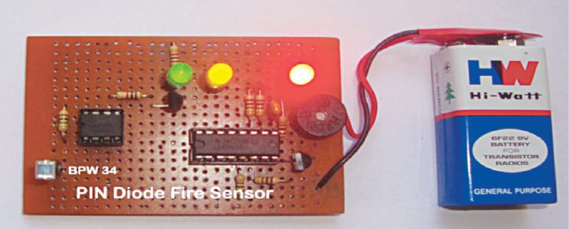 Fig. 1: Author's prototype of the PIN diode based fire sensor