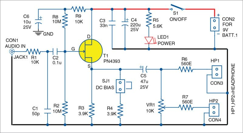 Circuit diagram of the high impedance audio buffer with JFET
