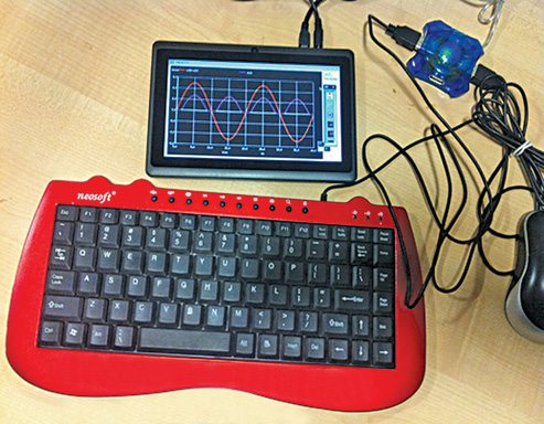 Fig. 1: eSim software running on Aakash tablet (Image courtesy: www.aakashlabs.org/gnu)