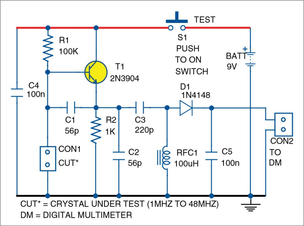 portable crystal tester detailed circuit diagram available rh electronicsforu com crystal tester circuit schematic diagram