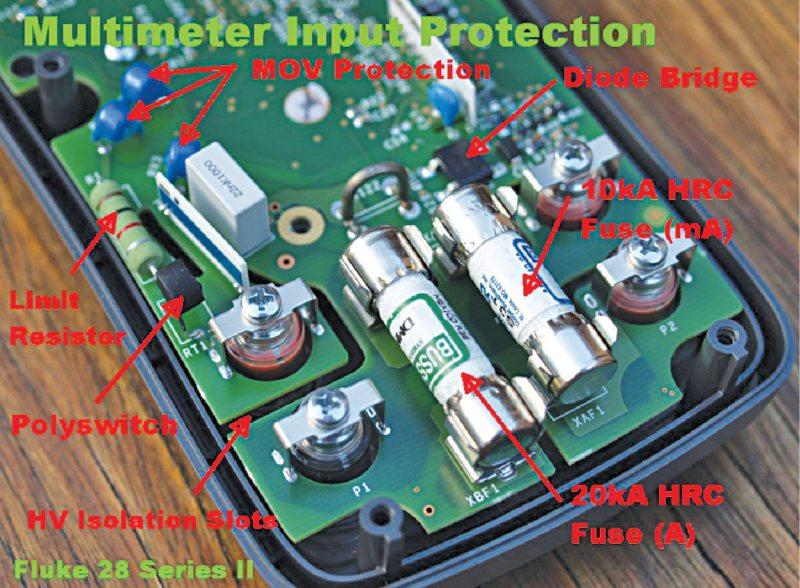 Fluke 28 multimeter input protection